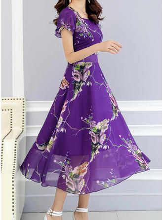 Print Floral Square Neck Midi A-line Dress