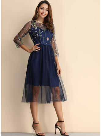 Embroidery/Floral 3/4 Sleeves A-line Midi Casual/Elegant Dresses