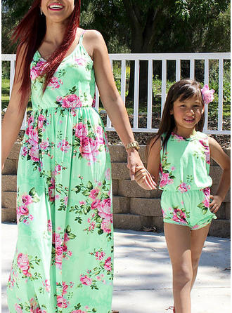 Far og mig Blomster Print Matchende Kjoler