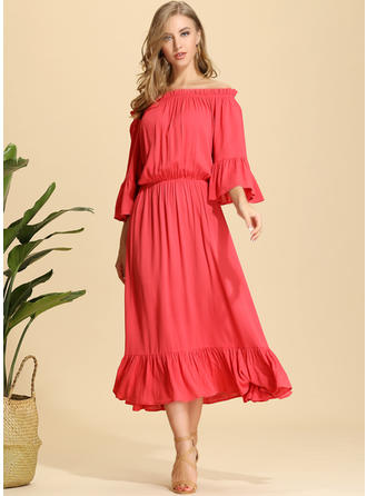 Solid 3/4 Sleeves/Flare Sleeves A-line Midi Casual/Elegant Dresses