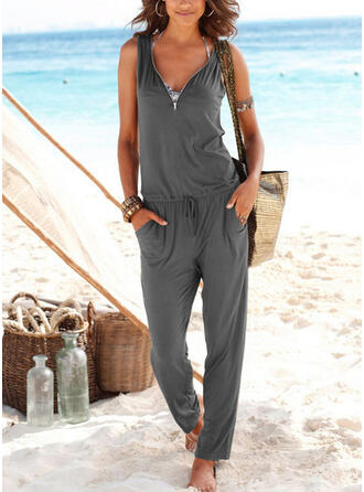 Solid Sleeveless Casual/Vacation Dresses