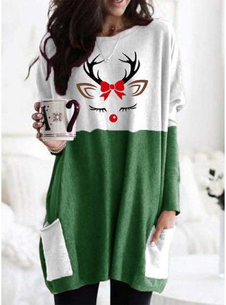 Dyr Lommer rund hals Lange ærmer Jule sweatshirt