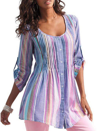 Polyester Round Neck Striped 3/4 Sleeves Shirt Blouses