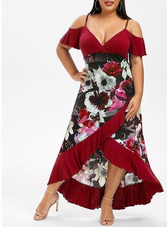 Print/Floral Cold Shoulder Sleeve A-line Asymmetrical Casual/Plus Size Dresses