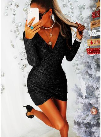 Paillettes Manches Longues Moulante Au-dessus Du Genou Petites Robes Noires/Fête Robes