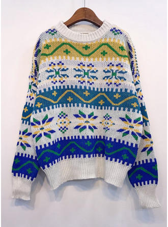 Polyester Round Neck Print Color Block Ugly Christmas Sweater