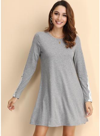 Solid Long Sleeves Shift Knee Length Dresses