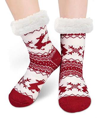 Stampa/Natale renna Caldo/Natale/Calzini dell'equipaggio/Antiscivolo/Unisex Calzini