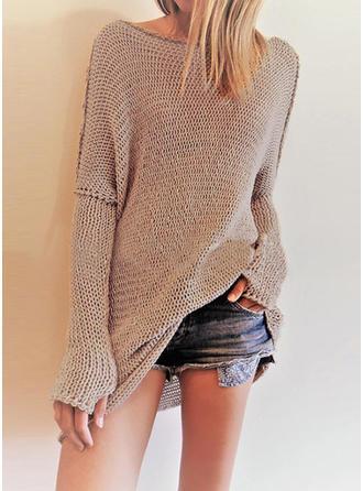 Polyester Round Neck Plain Sweater