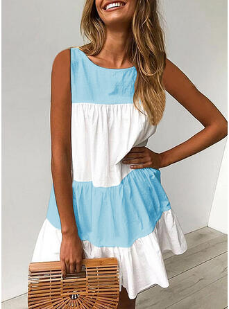 Solid/Patchwork Sleeveless Shift Above Knee Casual Dresses