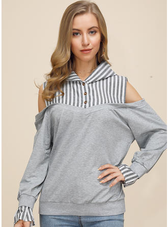 Striped Cold Shoulder Long Sleeves Button Up Casual Knit Blouses