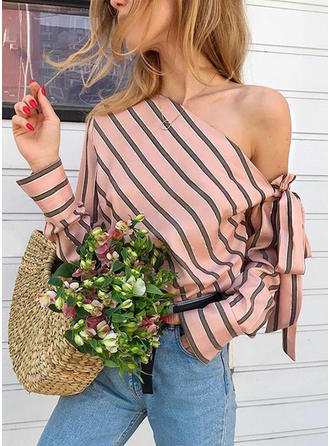 Striped One Shoulder Long Sleeves Casual Sexy Blouses