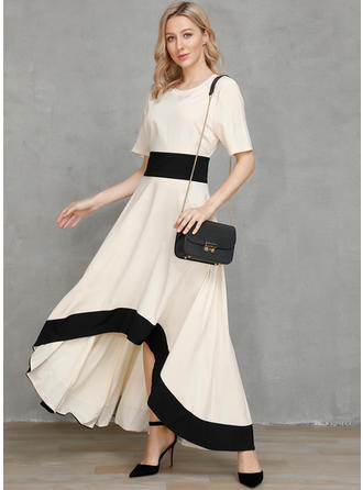 Color Block Short Sleeves A-line Asymmetrical Party/Elegant Dresses