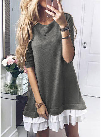 Lace Long Sleeves Shift Above Knee Casual Dresses