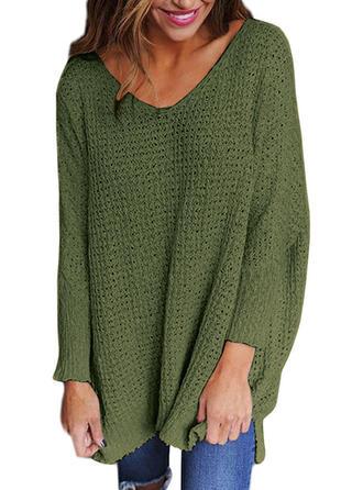 Solid Chunky knit V neck Sweater Dress