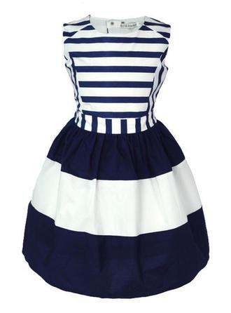Dziewczyny Okrągły Dekolt W paski Nieformalny Ładny Sukienka