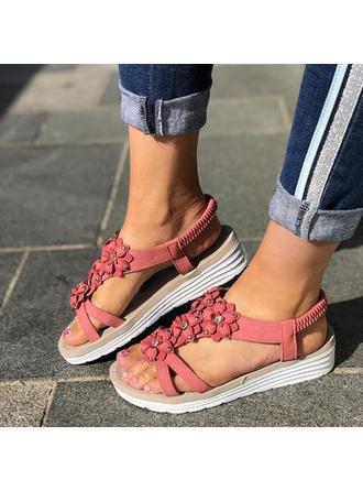Frauen PU Flascher Absatz Sandalen Flache Schuhe mit Blume Schuhe