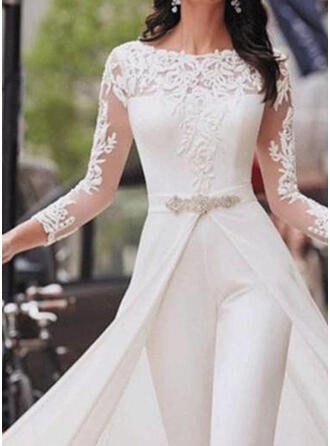 Lace/Solid 3/4 Sleeves Casual/Party/Elegant Dresses
