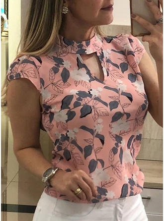 Floral Stand-up Collar Short Sleeves Casual Elegant Blouses