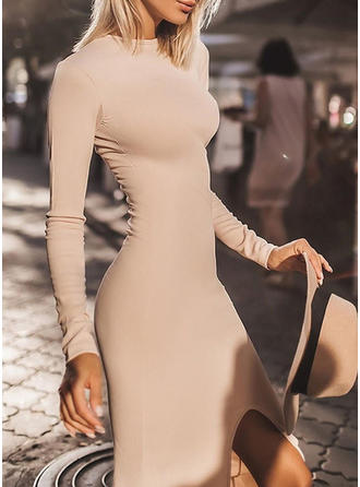 Solid Long Sleeves Bodycon Midi Little Black/Casual Dresses