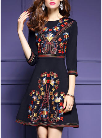 Embroidery Round Neck Above Knee A-line Dress