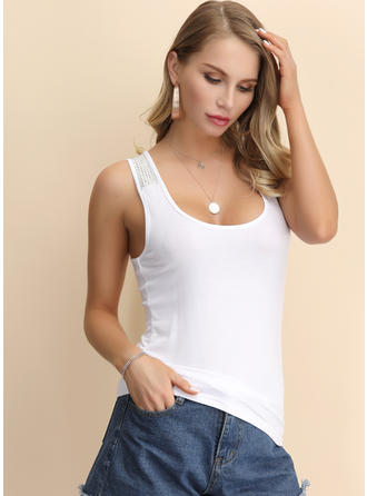 Solid Square Collar Sleeveless Casual Elegant Sexy Blouses