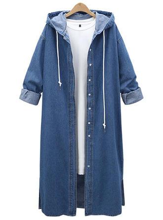 Denim Long Sleeves Plain Woolen Coats