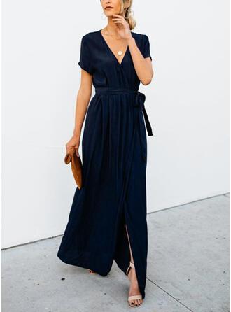 Solide Korte Mouwen A-lijn Zwart jurkje/Casual Maximum Jurken