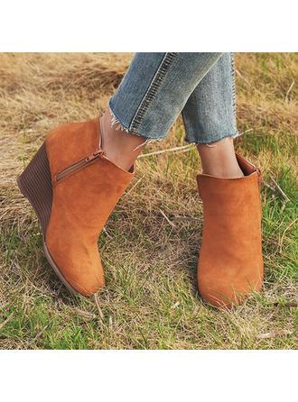 Női Szarvasbőr Ékelt sarkú Csizma cipő