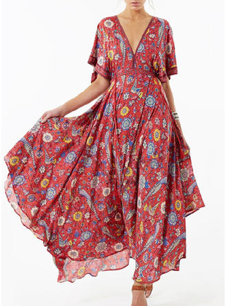 Print/Floral 1/2 Sleeves A-line Maxi Vintage/Casual/Boho/Vacation Dresses