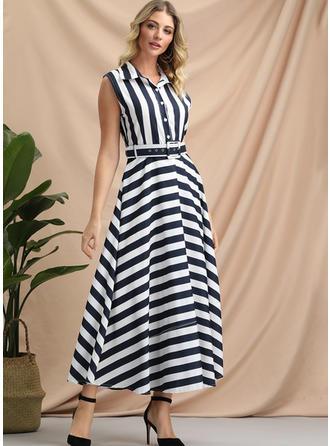 Striped Sleeveless A-line Maxi Casual/Elegant Dresses