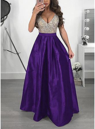 Sequins V-neck Maxi A-line Dress