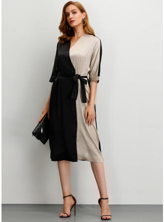 Color-block 1/2 Sleeves A-line Midi Party/Elegant Dresses
