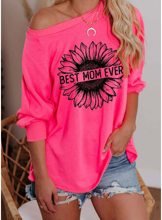 Print Blomster One Shoulder Lange ærmer Sweatshirts