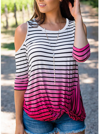 Striped Cold Shoulder 3/4 Sleeves Casual Blouses