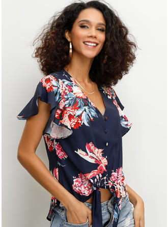 Floral V Neck Short Sleeves Button Up Casual Elegant Blouses