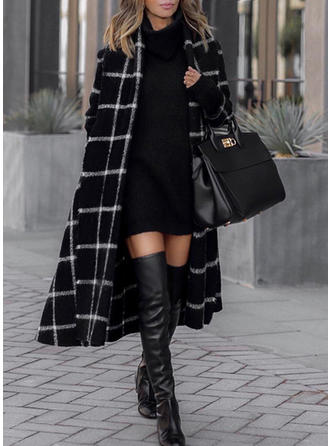 Polyester Long Sleeves Plaid Wide-Waisted Coats