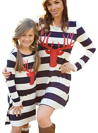 Reindeer Striped Matching Family Dresses