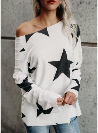 Imprimée Une Épaule Manches Longues Décontractée T-shirts