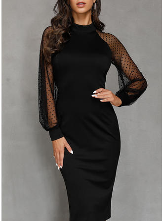 Solid Long Sleeves Sheath Little Black/Party Midi Dresses
