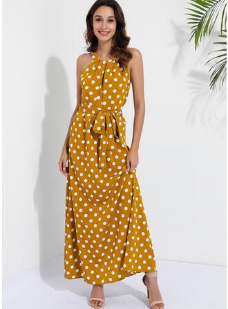 Print/PolkaDot Sleeveless A-line Casual Maxi Dresses
