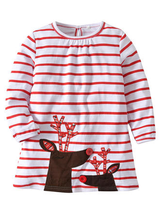 Girls Round Neck Striped Party Christmas Dress