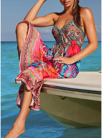 Print/Leopard Sleeveless A-line Skater Boho/Vacation Maxi Dresses
