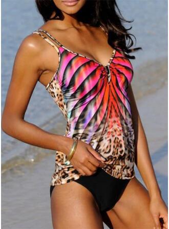 Leopardo Raya Correa Cuello en V Sexy Boho Tankinis Trajes de baño