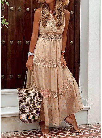 Lace/PolkaDot Sleeveless A-line Casual/Vacation Maxi Dresses