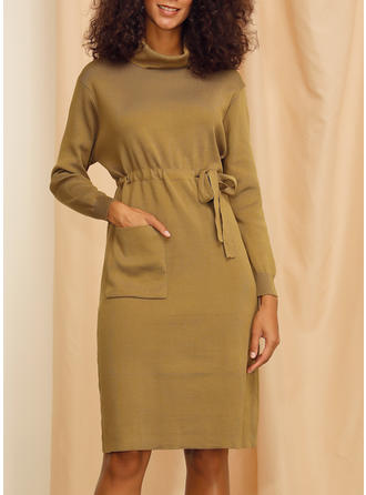 Solid Long Sleeves A-line Knee Length Casual/Elegant Dresses