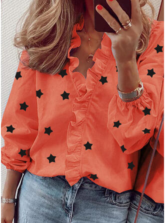 Print V-Neck Long Sleeves Casual Elegant Blouses
