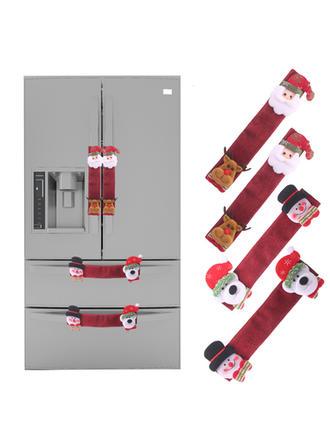 Monigote de nieve Reno Papa Noel Navidad Tela Decoración navideña Cubierta de la manija del refrigerador (Juego de 4)