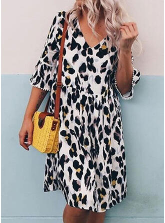 Animal Print 1/2 Sleeves A-line Knee Length Casual/Elegant Dresses