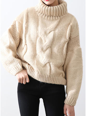Solid Cable-knit Ribbed Chunky knit Turtleneck Sweaters